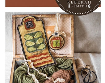 New! Primitive Folk Art Wool Applique Pattern:  SEWING ROLL SET - Design is by Rebekah L. Smith