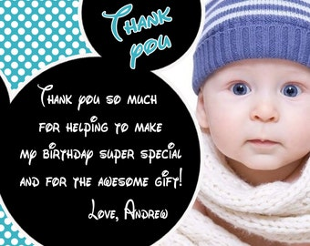 Mickey mouse thank you card, Mickey mouse card, Mickey mouse custome order - Digital file