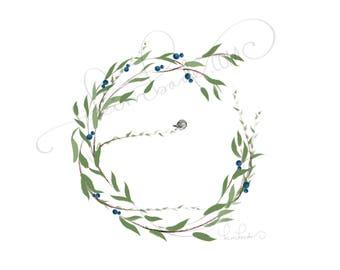 Birdie Wreath - 8.5 x 11 print
