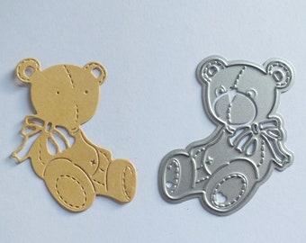 1 Metal Cutting Die Small TEDDY BEAR Cards Scrapbooks Ribbon