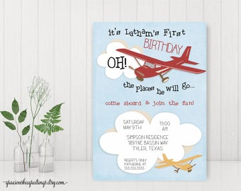 Airplane Birthday Invitations, 1st Birthday, Birthday Party Invitation, First Birthday Party, Customizable, DIY Printable K2552