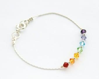 Chakra Bracelet, Rainbow Bracelet, Sterling Silver 7 Chakras Bracelet