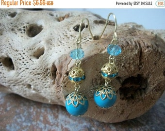 ON SALE Vintage Gold Light Turquoise Blue INDIA Inspired Dangle Earrings 1438