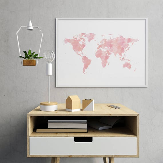 Pink world map nursery decor baby girl nursery world map gumiabroncs Images
