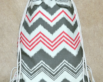 Gray and Pink Chevron Drawstring Backpack