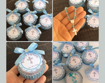 12 baptism favors boxes with mini rosaries- boy Baptism favors- boy Baptism- christening Baptism- baptism favors- christening baptism favor