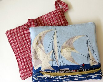 Pair of Reversible Potholders: Nautical Sailboat Frames with Red Plaid