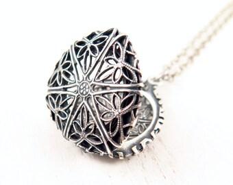 Floral Filigree Locket, Silver Photo Locket, Triangle Necklace, Geometric Pendant, Silver Locket
