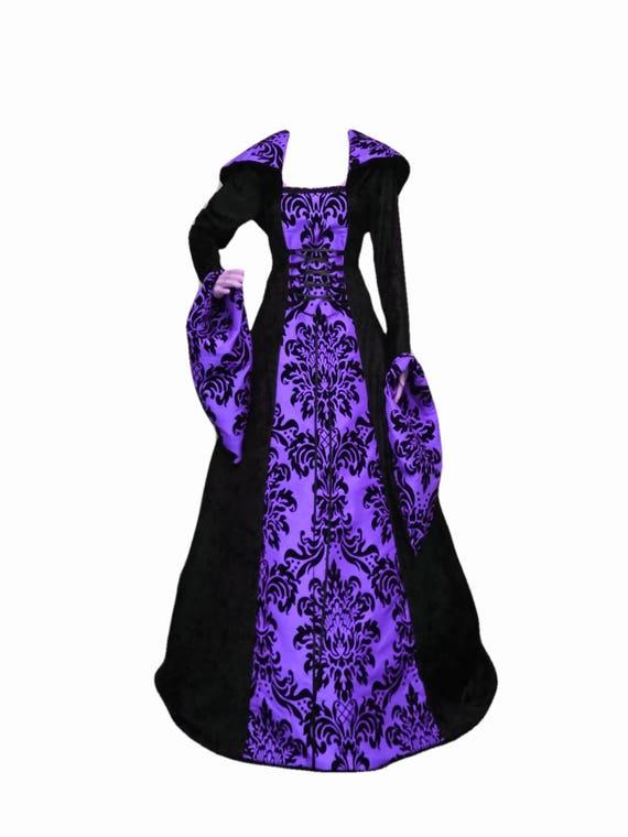 Gothic-Kleid lila und schwarz Kleid Abschlussballkleid