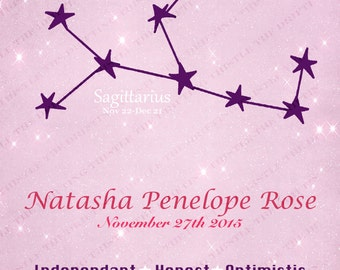 Baby astrology, Zodiac constellation, Nursery art, star sign, personalized, new baby, baby shower, birthday