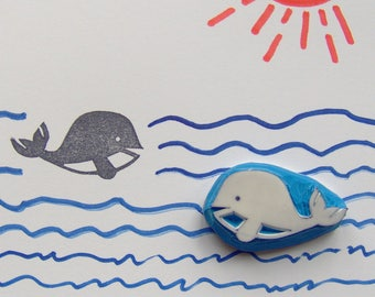 Whale rubber stamp, whale stamp, baby whale stamp, sea stamp, ocean stamp, ocean animals, giant wale, school projects, cardmaking, crafts