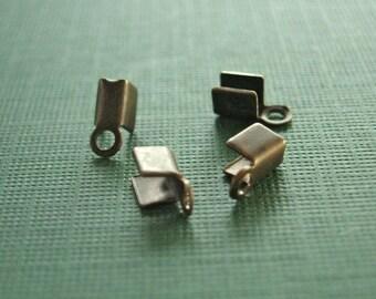 vintaj brass crimp ends, crimp beads, woven chain crimp ends,four pieces, 8mm,