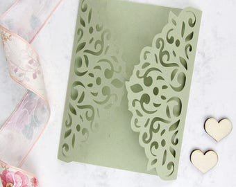 DIY Laser Cut Gatefold Wedding Invitation Set of 10, Green Gatefold Invitation, Modern Wedding Invitation, Elegant Invitation, Lace Invite