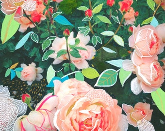 Peach Rose Garden Art Print | Mixed Media Painting | Floral Photograph | Katie Daisy | 8x10 | 11x14