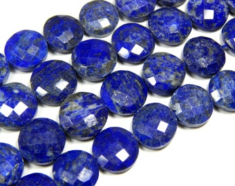 70%OFF Lapis Lazuli Faceted Coin Beads 100  Percent Natural Gemstone Size 13.9x10.8 mm Approx  - 0546