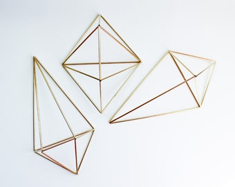 The Wall Sconce Trio Set Castor | 3 Brass Air Plant Holders, Modern Minimalist Geometric Ornament
