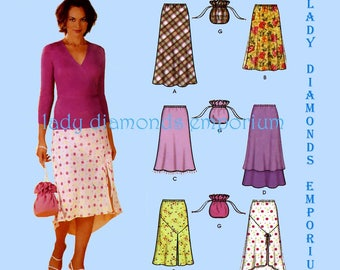 Simplicity 7090 Womens Pull-on Bias Skirts & Purse  Hi-Low Hem Tiered or Flared size 12 14 16 18 Six Styles Easy Sewing Pattern