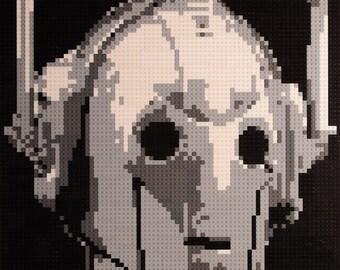 Mosaic Dr Who Cyberman made using Lego® bricks.