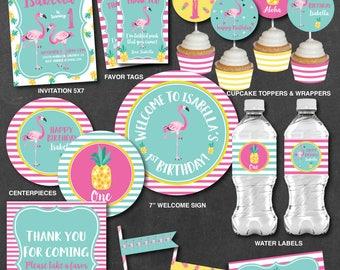 Flamingo Birthday Decorations, Flamingo Pineapple Birthday Decorations, Printable PDF Files, Personalized