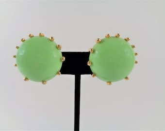 Vintage Signed Schiaparelli Green Glass Round Clip Earrings