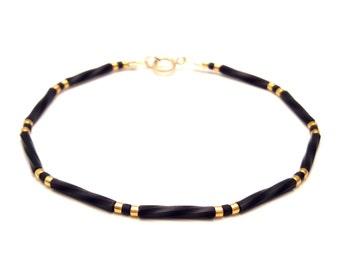 Black and gold Simple bracelet gold minimal jewelry tiny bead layering bracelet