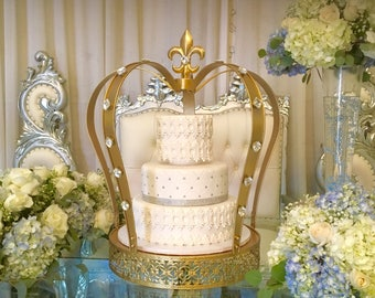 The biggest Gold crown cake stand and 3 Tier Fake Wedding Cake Covered with REAL Fondant Cake Dummy Display Wedding Cake With Gold Lace