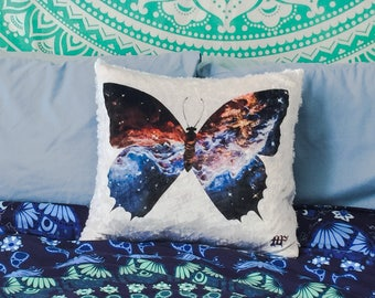 Cosmic butterfly accent pillow