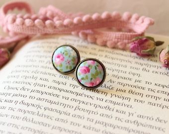 Pink Floral Studs, Floral Studs Posts, Fabric Button Earrings, Shabby Chic Studs, Pink Rose Posts, Tiny Rose Posts Studs, Small Flower Studs