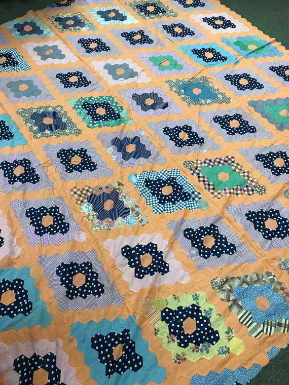 Hand Pieced 1930s Feed Sack Grandmothers Flower Garden Quilt Top