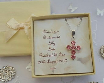 Personalised  necklace jewellery flower girl bridesmaid thank you gift present