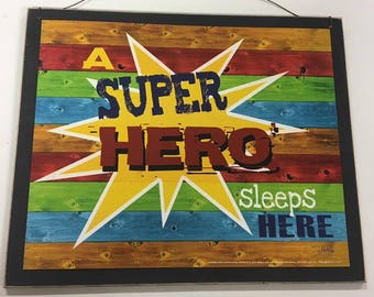 A Super Hero sleeps here boys bedroom decor decorations wood Wooden Wall Sign
