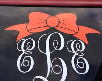 Bow Monogram Car Decal, Lap Top Monogram Decal, Bow Decal, Monogram Decal