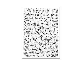 Growing - Leaves poster, flowers pattern, Black and White art, Gift Ideas, housewarming gift, Scandinavian decor, Minimal design
