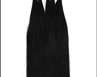 Black U Tip Nail Tip Fusion Tips Remy Human Hair Hot Fusion Extensions 17 inch length USA Made Utip Fusions