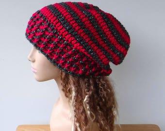 Woman Slouchy beanie, pink gray metallic/lurex beanie, slouch beanie, slouchy hat, baggy hipster hat/fuchsia charcoal grey beanie, women