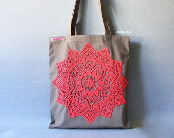 Brown tote bag, natural linen shopping bag, eco bag with crochet applique, grocery bag, summer canvas bag, market bag, beach bag, doily bag