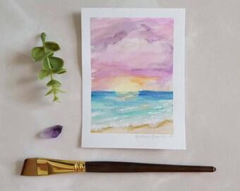 OCEAN SUNSET ORIGINAL Watercolor Painting | Beach Painting | Ocean Decor | Sea Art | Sunset Painting | Coastal Wall Art | Watercolor Art