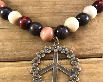 Peace Sign Beaded Necklace
