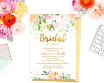 Peach Bridal Shower Invitation Printable, Pink Gold Floral Bridal Shower Invitation, Watercolor Faux Gold Foil Bridal Shower Invite