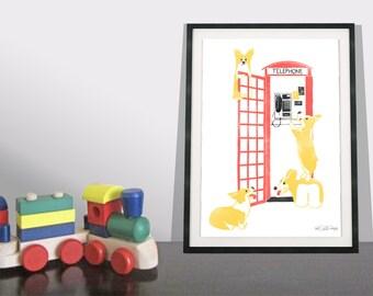 Corgi Art Print / Dog Art Print / Red Telephone Box / London Wall Art / Playroom Decor / Children's Playroom / London Art