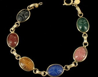 "Antique Deco 12K GF Gold Filled Scarab Bracelet Green Agate Tigers Eye Ronci 7"""
