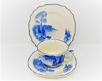 Myott Homeland Trio Cup and Saucer / Side Plate / Vintage Blue and White China