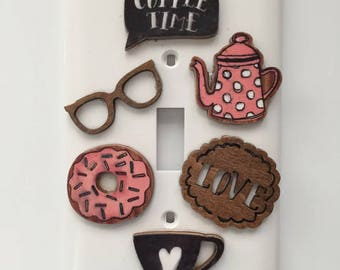 Coffee Time Light Switch Cover, Gift for her, Kitchen, Coffee Pot, Reading Glasses, Coffee Cup, Donut, Love