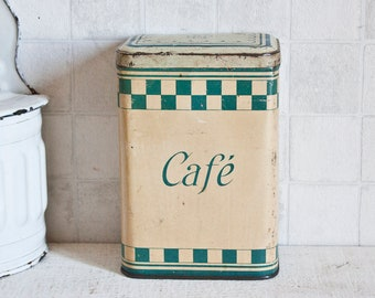 """Vintage French """"Café"""" Coffee Store Box - Blue Checkerboard Lithographed Decorative Tin - Retro Kitchen Metal Canister"""