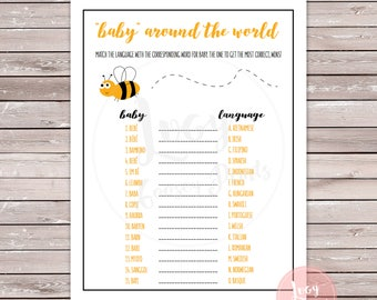 Baby Around the World Instant Download, Printable Game, Bee Baby Shower / Sprinkle