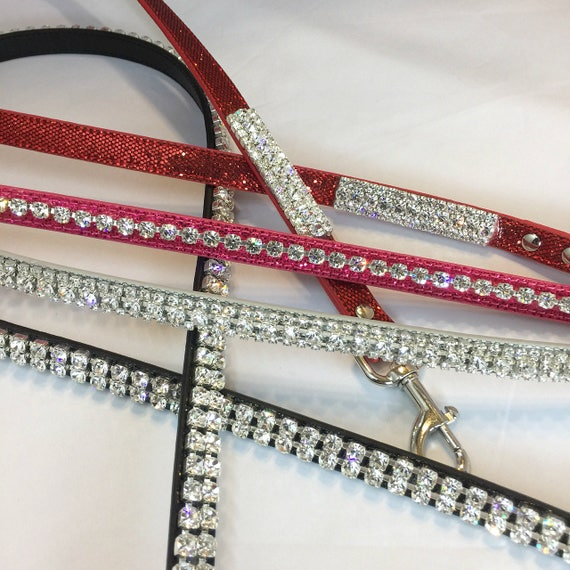 Cutie Pie Pets Gorgeous 4' Crystal Rhinestone Dog Collar Leashes, Red, Green, Black, Silver, Pink, Black, or Purple USA