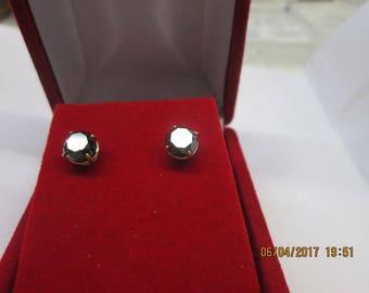 Earrings black diamond 1.00 ct