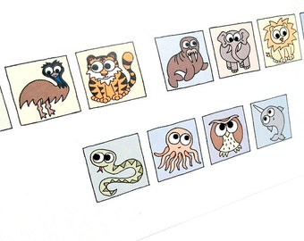 Get Well Soon Card - Cryptic Animals - puzzle card with hidden message spelt with cute creatures, say it with animals, Kim Onyskiw design