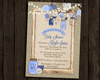 Boy Baby Shower Invitation Rustic Burlap Mason Jar Tree Branch Blue Navy Brown Wood Fairy Lights Printable Digital I Customize For You
