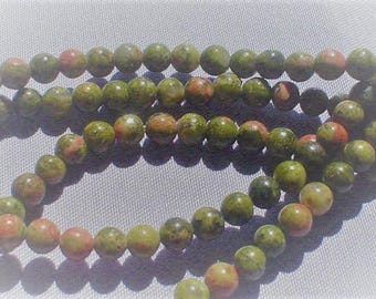 natural gemstone red and green unakite smooth round bead 4 mm / 15 inch